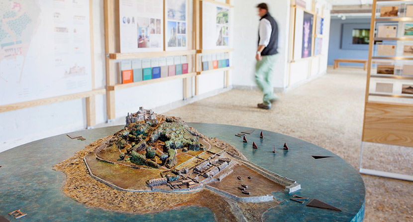 St Michael's Mount bronze model by Tom Leaper in the Barge House visitor centre