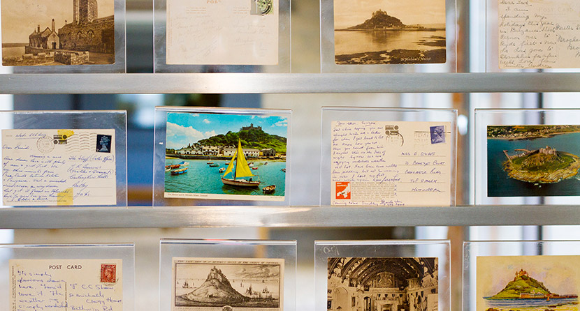 In St Michael's Mount visitor centre, the Barge House, there is a display of postcards