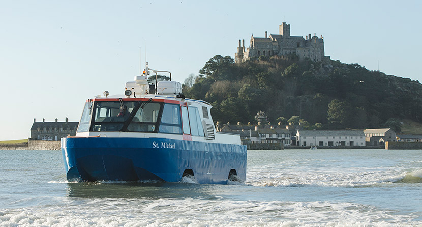 The St Michael's Mount amphicraft – an amphibious vehicle – making the crossing to Marazion in Cornwall