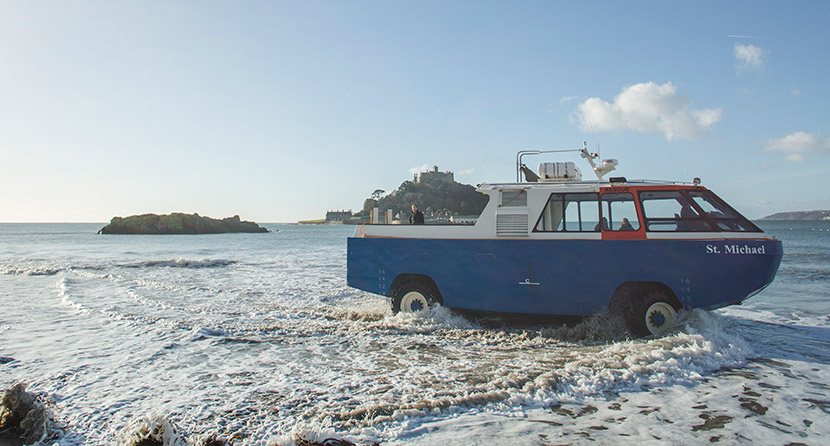 The St Michael's Mount amphibious vehicle crossing from Marazion to the Mount in Cornwall