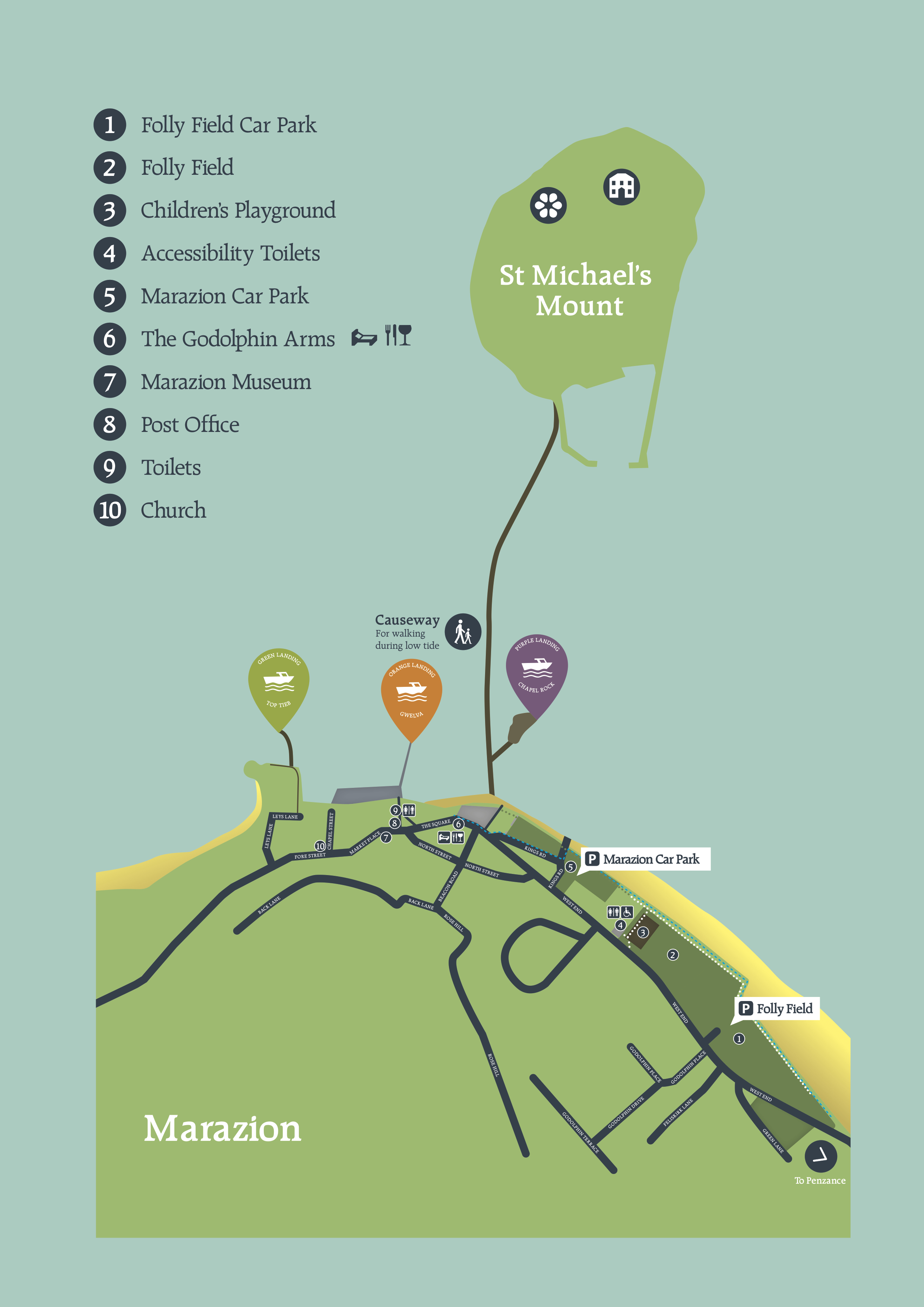 Map of how to get from Marazion to St Michael's Mount